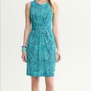 NWOT Banana Republic Issa Blue Ceramic Dress, Sz 4
